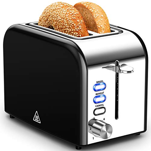 Hommater Toaster 2 Slice Extra Wide Slot Toasters Best Rated Prime Stainless Steel with Bagel/Reheat/Cancel Function…