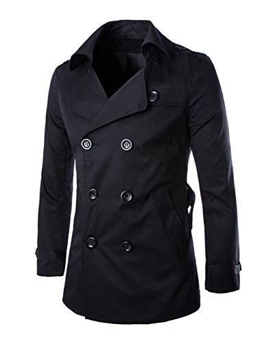 Mens Casual Slim Double Trench Coat with Belt (US:XS / Asia M, Black)