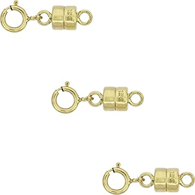 3 PACK 14k Gold-filled 4 mm Magnetic Clasp Converter for Light Necklaces USA, Square Edge