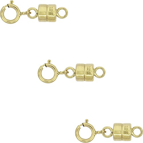 3 PACK 14k Gold-filled 4 mm Magnetic Clasp Converter for Light Necklaces USA Square Edge 5.5mm SpringRing (Magnet Jewelry Clasp)