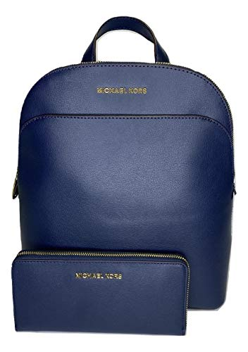 MICHAEL Michael Kors Emmy Large Dome Backpack bundled with Michael Kors Large ZA Continental Wallet (Navy)