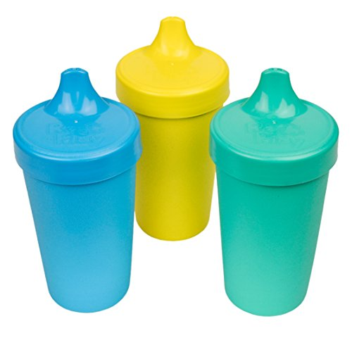 Re-Play Made in The USA 3pk No Spill Sippy Cups for Baby, Toddler, and Child Feeding - Aqua, Sky Blue, Yellow (Surf)