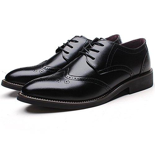 Rismart Homme Mode confortable Travail Espace Cuir Fendu Oxfords Chaussures 856 (Noir,EU38)