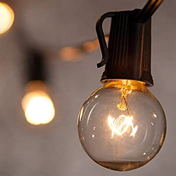 Noza Tec Outdoor Globe String Lights  25Ft G40 Clear Bulb String Light for  Indoor OutdoorNoza Tec Outdoor Globe String Lights  25Ft G40 Clear Bulb String  . Garden Patio Lights Uk. Home Design Ideas