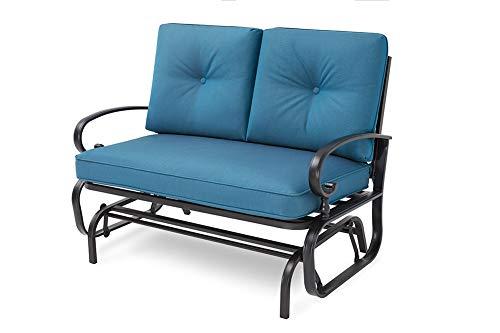 Oakmont Outdoor Loveseat Swing Rocking Glider 2 Seats Wrought Iron Furniture Set Peacock Blue