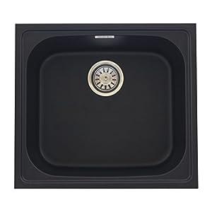 ZINZER Granite/Quartz Kitchen Sink – 21 x 19 x 8 inch (Matt Black Color)