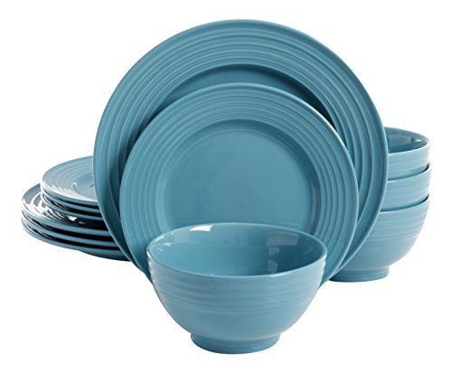 Gibson Home Plaza Cafe 12 Piece Dinnerware Set, Turquoise (And Blue White Dishware)