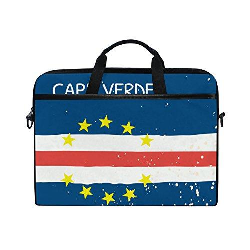 - Distressed Cape Verde Flag 14 Inch Laptop Shoulder Messenger Bag Case Sleeve Briefcase with Handle for Women Men