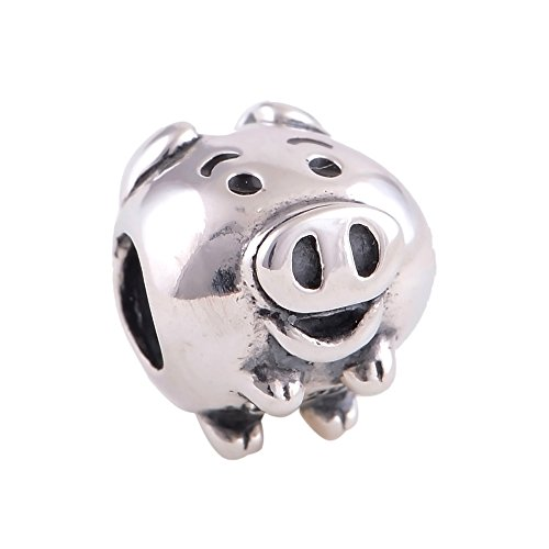 Silver Piggy Bank Sterling (The Kiss Piggy Coin Bank 925 Sterling Silver Bead Fits European Charm Bracelets)