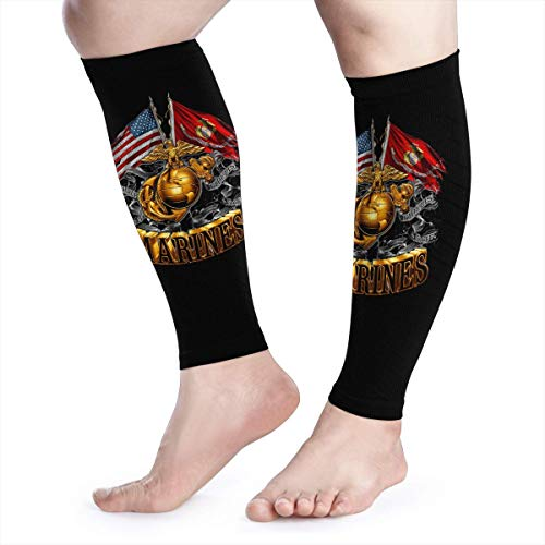 - Calf Compression Sleeves Marine Corps Gold Globe Patriotic Leg Support Socks for Women Men 1 Pair