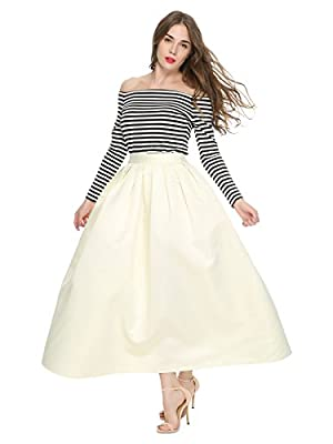 Maggie Tang Women's A Line Pleated High Waisted Street Skirt Maxi Skirt