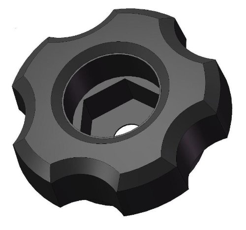 Innovative Components ANH4-HEXF2 1.38'' Snap Lock Fluted Knob hex hole molded to accept M6 nuts and bolts, black pp (Pack of 10) by Innovative Components