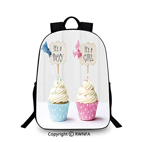 Lightweight Backpack-School Bag for Kid Girls Boys Colorful,Boy and Girl with Cupcakes Yummy Chocolate Celebration Theme Plain Bookbag Travel Daypack Pale Blue and Pink Cream