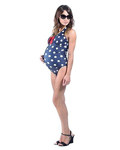 The Essential One Women's Maternity Spot Tankini 12 Navy Blue