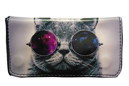 Tobacco Case Pouch Synthetic Leather Smoke For Rolling Cigars Crazy Cat Colored Glasses