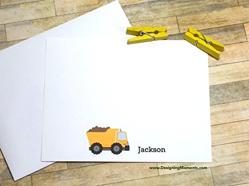 (Dump Truck Stationery Flat Card Set - Personalized Stationery - Kids Cards - Construction Cards - Thank You Cards - Construction Truck Cards)