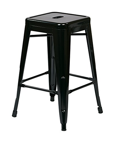 OSP Designs Patterson 24-inch Metal Backless Barstool, Black, 2-Pack