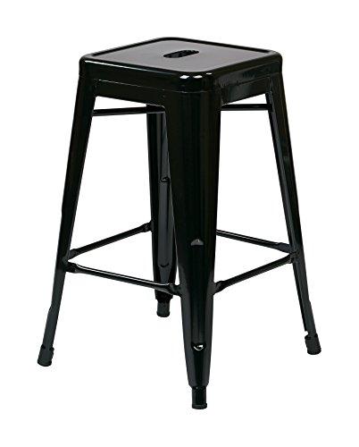 OSP Designs Patterson 24-inch Metal Backless Barstool, Black, 4-Pack