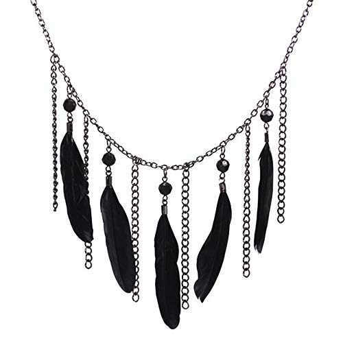 (EchoMerx Black Beads and Feather Chandelier)