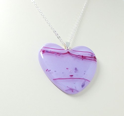 Fused Stained Glass Necklace - Lavender Heart