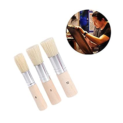 3pcs Wooden Stencil Brush Hog Bristle Brushes Acrylic Watercolor Oil Painting For Child Painter Office & School Supplies