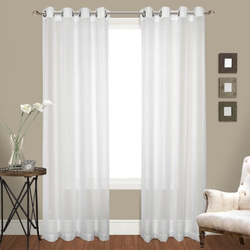 United Curtain Venetian Crushed Voile Window Curtain Panel, 100 by 108-Inch, White, Set of 2