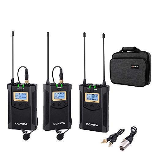 Comica CVM-WM100 Plus UHF 48-Channel Wireless Dual Lavalier Microphone System for Canon Nikon Sony Panasonic DSLR Camera,XLR Camcorder & Smartphone (2TX+1RX)