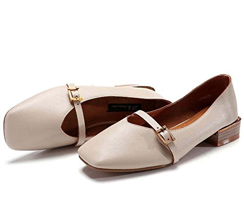 Shoes Women's Leather Shoes MHX Sets shoes Beige New Spring Grandma Buckle Shoes Single Solid Ma Of Color zd4wHqxd