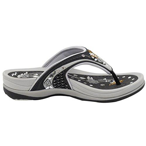 9 5 5893 Black Women Only Grey Comfort Flip Flop 5 Size wwYXxr