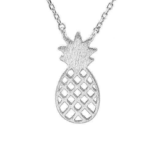 chelseachicNYC Sterling Silver Brush Metal Pineapple Necklace ()