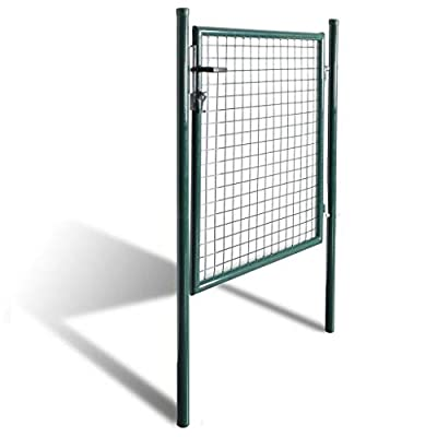 "Clever Market Garden Single Door Metal Patio Entry Gate Stable Durable Fence Gate Terrace Entrance Fencing Walk Door Galvanized Steel Green 39.4""x98.4"""