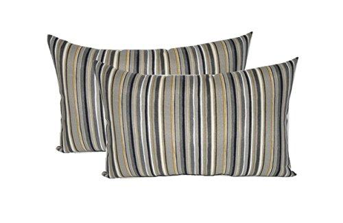 Set of 2 - Indoor / Outdoor Rectangle / Lumbar Decorative Throw / Toss Pillows ~ Cala Stripe Slate - Yellow, Ivory, Gray by Resort Spa Home Decor (Image #2)