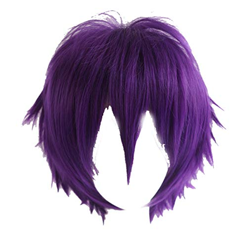 Alacos Purple Short Layered Anime Cosplay Wig Teens Men Boy Unisex Costumes Apparel Hair Wig +Cap for $<!--$14.99-->
