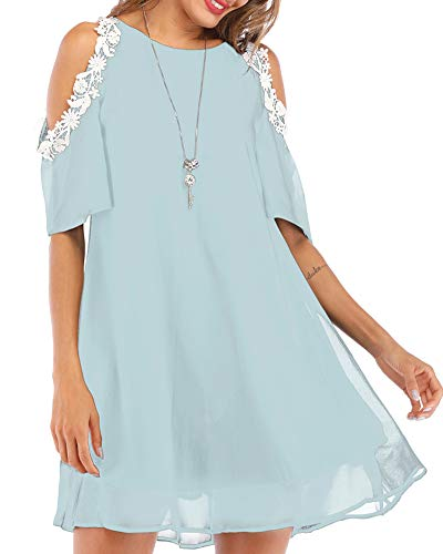 Aofur Summer Chiffon Lace Dress Ladies 2018 Cold Sleeve Casual Plus Size S-XXXXL Sundress Women Solid Elegant Party Dress (Large, Light Blue) ()