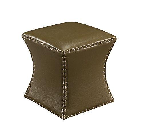Kings Brand Furniture Nailhead Trim Upholstered Stool Ottoman (Green)