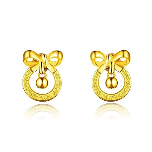 Beydodo 2.48g 24K Yellow Gold 999 Stud Earrings for Womens Loop with Clamp Earrings Stud for Wedding by Beydodo