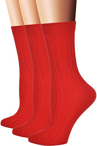 Flora&Fred Women's 3 Pair Pack Cotton Crew Socks Red