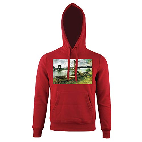Print Hoodie, Riverside Distressed Paint Style Nostalgic City,for