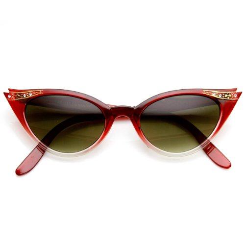 zeroUV - Vintage Inspired Mod Womens Fashion Rhinestone Cat Eye Sunglasses - Sunglasses 50s