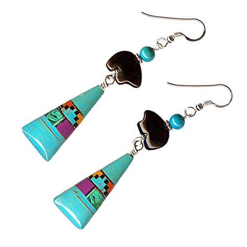 Bear Gem (Created Turquoise Gemstone Inlay Ceremonial Triangle Black Agate Bear Pierced Earrings)