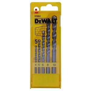 DeWalt DT6952-QZ - Pack de 5 brocas para piedra, vástago cilíndrico, en caja de plástico