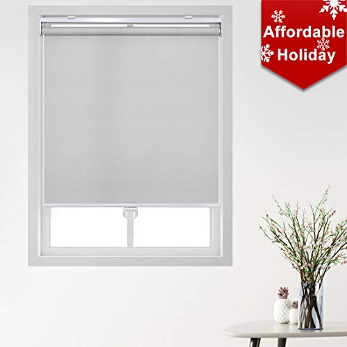 Keego Cordless Roller Blinds and Shades for Windows – Blackout Spring Roller Shades – Cordless Privacy Room Darkening Window Cover for Home & Office [Gray 100% Blackout,51″ W x 60″ H(Inch)]