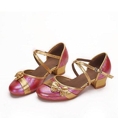 XIAMUO Anpassbare Kids Dance Schuhe Leder moderne Heels niedrigem Absatz Indoor/Outdoor/Performance Pink/Weiß/Pink, Weiß, UNS 6,5-7/EU 37/ UK 4,5-5/CN 37