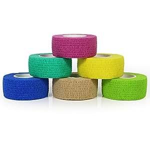 yumai 2,5cm x 4,5m Kit de primeros auxilios dedo cinta adhesiva Vendas Vet Wrap, elástica, flexible, autoadhesiva–6rollos (Multicolor)
