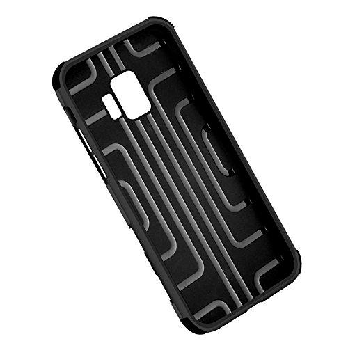 Galaxy S9 Hülle, CHENXI PU Leder Brieftasche Schutz Tasche mit Kartenfach Kredit Karten Handy Schutzhülle Auf und Ab Knopfverschluss TPU Case für Samsung Galaxy S9 Silber Braun