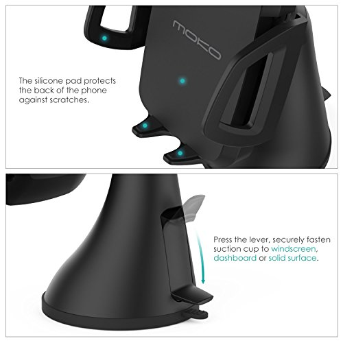 Air Vent Dashboard Car Mount for All Qi Enabled Smartphone iPhone X//8//8 Plus MoKo Car Wireless Charger Black 4351581261 Samsung Galaxy S10//S10+//S10e//S9//S9+//S8//S8 Plus//S7 and More 3-Coil Charging Cradle