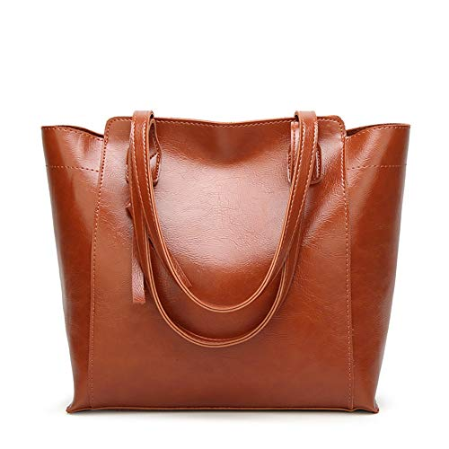 Handle Weight Suliso For Top Tote Women's Pu Leather School Handbags Bag Brown Light Work EERqvw