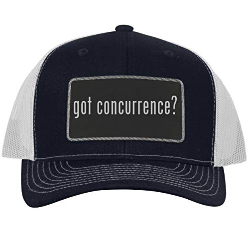got Concurrence? - Leather Black Metallic Patch Engraved Trucker Hat, NavyWhite, One Size