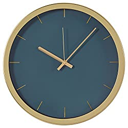 Rivet Modern Brass Clock, 12H, Green