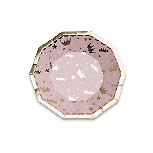 Daydream Society Sweet Princess Crowns Small Paper Party Plates, Pack of 8